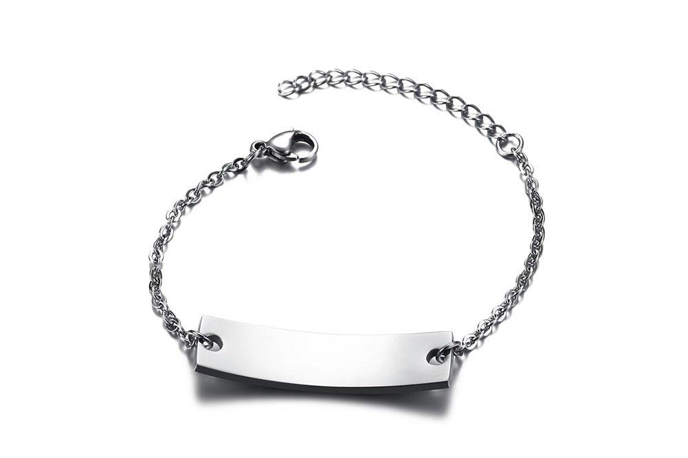 Personalized Bar Engraved Custom Free Engraving Medical Alert ID Bracelet for Women Girl,Adjustable by Mealguet Jewlery (Image #5)