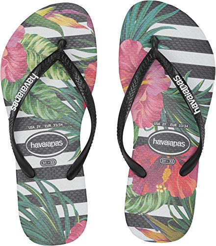 (Havaianas Kids Baby Girl's Slim Tropical Floral Flip-Flop (Toddler/Little Kid/Big Kid) Black/Black/Imperial Palace 29-30 M EU)
