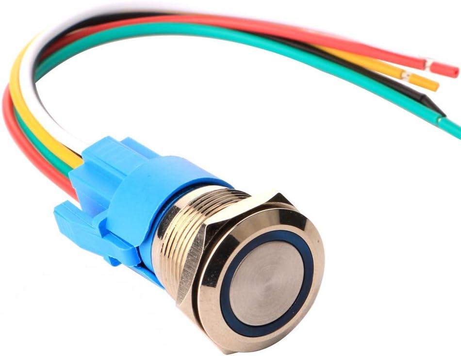 Gebildet 19mm Momentáneo Pulsador de Botón Acero Inoxidable, Impermeable ON/Off 12V-24V 5A LED 1NO1NC SPDT Botón con Enchufe de Cable(LED Azul)