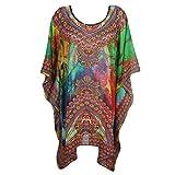 Mogul Women's Sensual Flowy Rhinestone V Neck Short Caftan Dress / Cover Up
