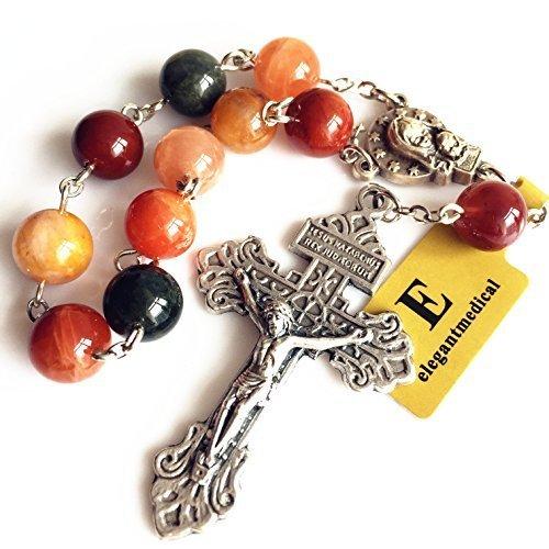 - elegantmedical Handmade Rosary Rutilated Quartz Crystal Bead one Decade Rosary Bracelet Cross Gift