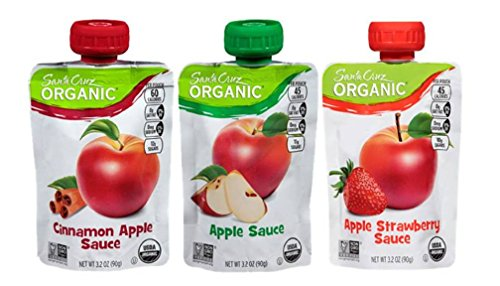 Santa Cruz Organic Applesauce Pouches 3 Flavor Variety 9 Pouch Bundle: (3) Santa Cruz Strawberry Applesauce, (3) Santa Cruz Cinnamon Applesauce, and (3) Santa Cruz Applesauce, 3.2 Oz. Ea. (9 (Santa Cruz Organics Apple)
