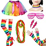Womens 80s Costume Fancy Outfit Rainbow Accessories Set