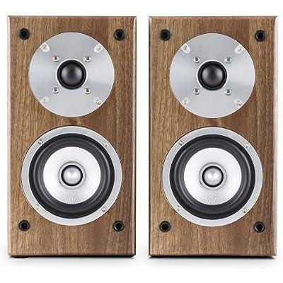 AUNA Line 501 BS-WN Passive Bookshelf Speaker Pair  100W  10cm 4   Midrange  2 5cm 1   Tweeter  Walnut