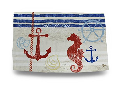 Things2Die4 Polyester Accent Rugs Nautical Breeze 22.5 X 37 Inch Flatweave Dobby Throw Rug 37 X 1 X 22.5 Inches - Breeze Sea Tiles Rug