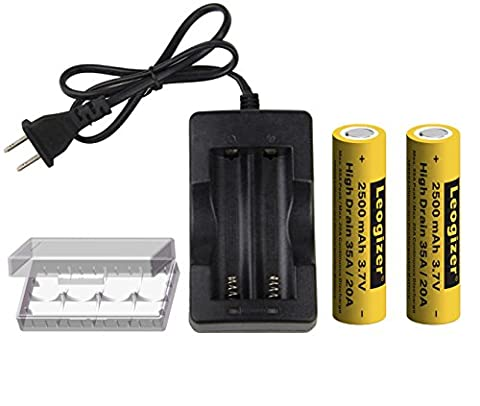 Leogizer 2xPCS 18650 High Drain Lithium ion Battery with Charger 3.7V Li-ion Rechargeable 2500mAh Max.35A Peak/20A Continuous Discharge, Independent 2 Bays 1.5A Quick Charger (Mods Vape Charger)
