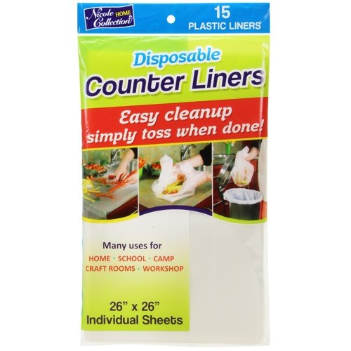 Disposable Countertop - Nicole Home Collection Disposable Plastic Counter Liners for Easy cleanup, 26