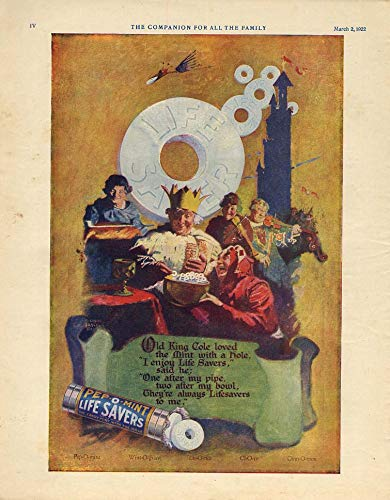 Old King Cole loved the Mint with a hole pep-O-Mint Life Savers Candy ad 1922 - Lifesavers Ad