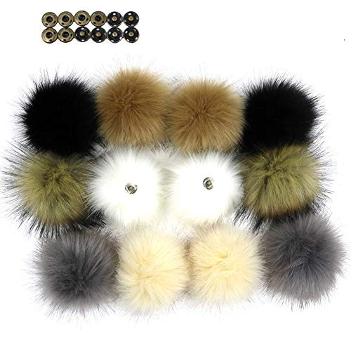 Fur Faux Handmade (NASHALYLY DIY 12pcs Faux Fox Fur Fluffy Pompom Ball Mix Colors Pom Pom for Knitting Hat Hats (A2))