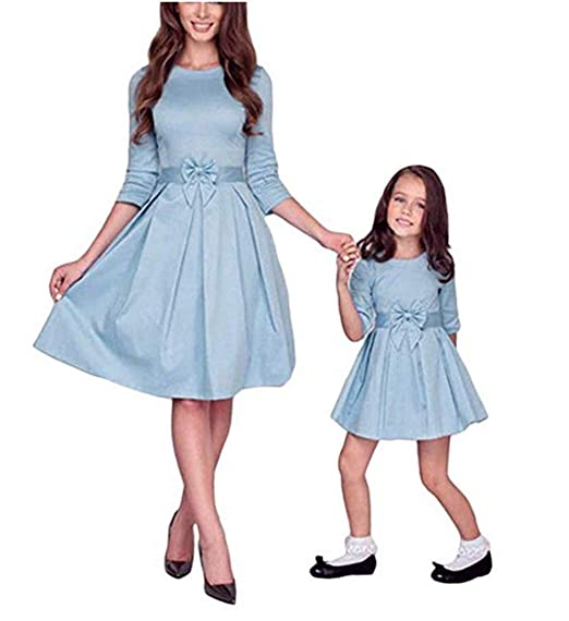 97cf5f58 Eyiou Mommy Me Midi Dresses Family Matching Outfits Clothes Long ...