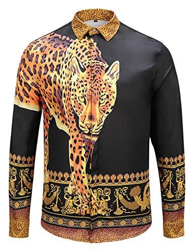 - PIZOFF Mens Long Sleeve Luxury Leopard Print Design Button Down Dress Shirt