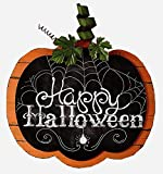 Wall Hanging Wood Plank Pumpkin with Chalkboard Look Happy Halloween Sign