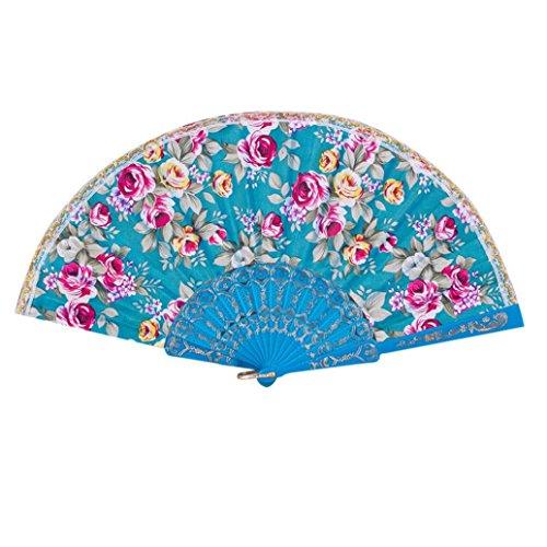 Vibola New Arrive Elegant Flower Print Folding Hand Fans Designer White Plastic fabric Fans Summer Women Girl Dancing Fan (Sky (Roses Trellis Pull)