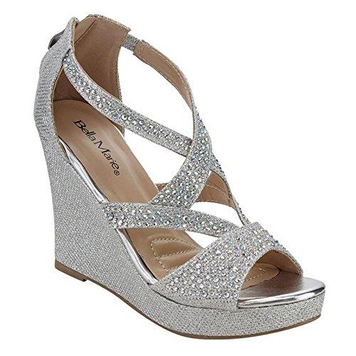 Bella Marie Women's Rhinestone Platform Wedge Sandal, Silver 10