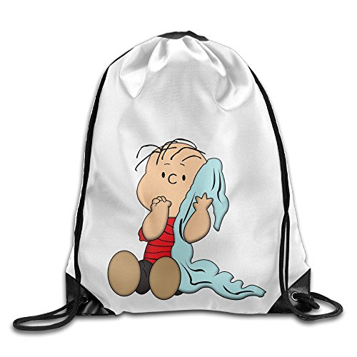 Bekey Customized Snoopy Meet Linus Drawstring Backpack Sport Bag For Men & Women For Home Travel Storage Use