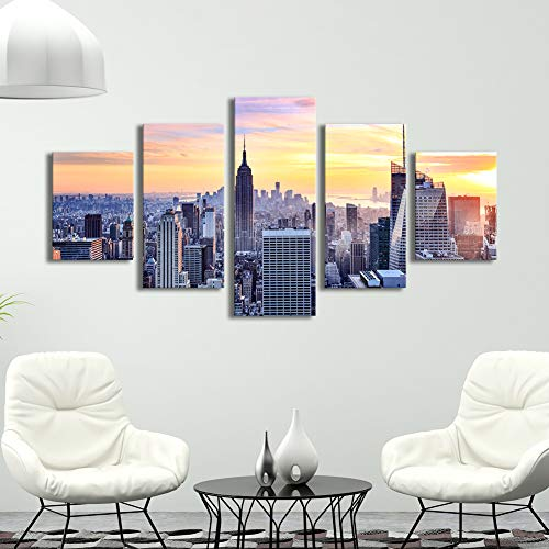 (Canvas Wall Art New York City Painting Skyline with Skyscrapers at Sunrise Big Size American Town Image Stretched Gallery Canvas Wrap Giclee Print for Home Office Living Room)