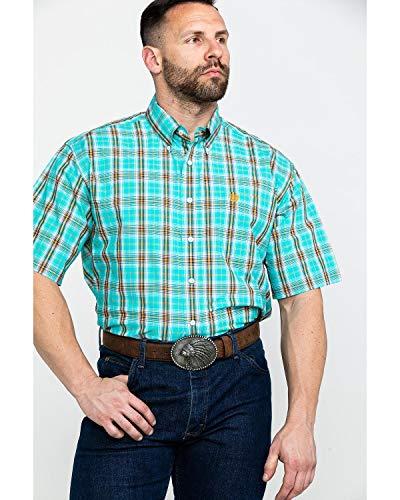 Cinch Men's Classic Fit Short Sleeve Button One Open Pocket Plaid Shirt, Cesar Turquoise, XL