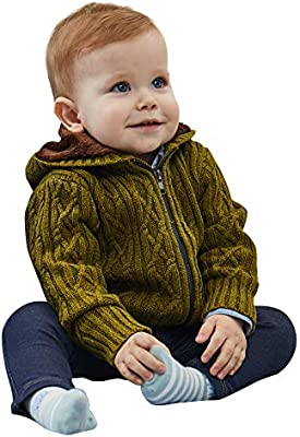 Petit Clan Baby Boy Hooded Cardigan Cable Knit Sweater with Zipper and Leather Logo Toddler Winter Warm Outerwear
