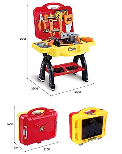 2-in-1 Pretend Toy Tool workbench can be portable kids construction workshop Toy Tool Kit storage case