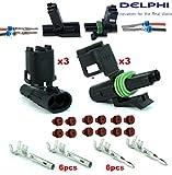 delphi electrical connectors - Delphi Packard (2 Circuits) Weatherpack, Waterproof, Terminal Kit 18, 20 GA (Pack of 3 Set)