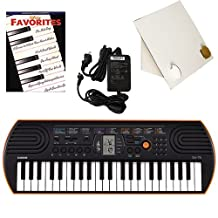 Casio SA-76 44 Key Mini Keyboard Deluxe Bundle Includes Bonus Casio AC Adapter, Desktop Music Stand & Disney Favorites Beginning Piano Solo Songbook