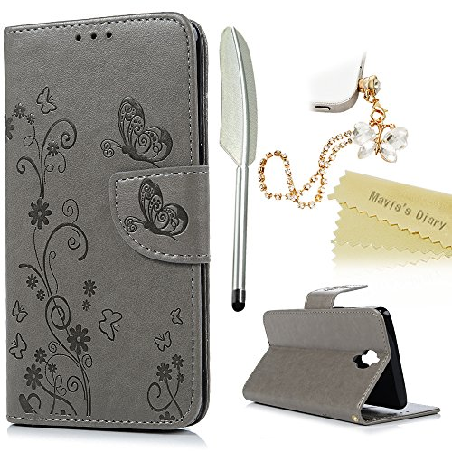 Mavis's Diary OnePlus 3 Case , OnePlus 3T Case - [Wallet Case] PU Leather Notebook Flip Case Flowers Butterfly Emobssed with Inner Soft Gel Rubber Back Holder Magnetic Closure Card Slots & Stand Function & Wrist Strap - Dust Plug & Stylus for OnePlus 3 / OnePlus 3T - Grey