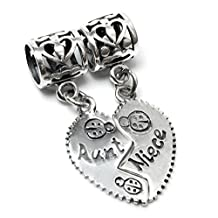 .925 Sterling Silver Aunt Niece Love Heart Dangle Pendant Family Bead For Pandora European Charm Bracelets