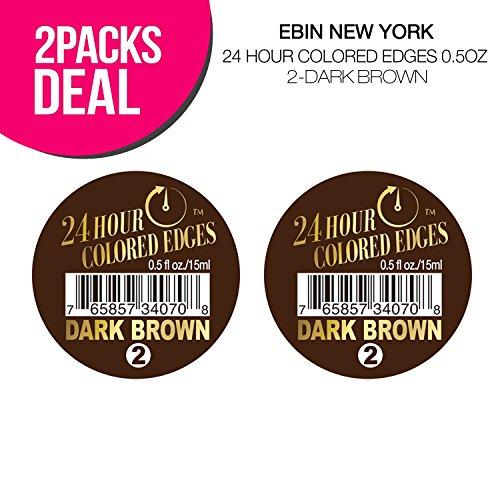 (2 PACKS) EBIN New York 24 Hour Colored Edges 0.5oz (2-Dark Brown)