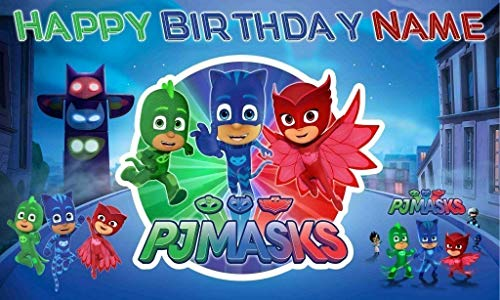 Pj Masks Happy BIrthday Banner Personalized/Custom Vinyl Backdrop Party decoration 16oz ()