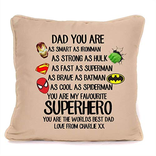 Fathers Day Gift For Dad - Superheroes Strong As Iron Man- Cushion Pillow Cover - 18 x 18 Inch- Perfect Personalized Gift For Birthday, Christmas Or Any Occasion.
