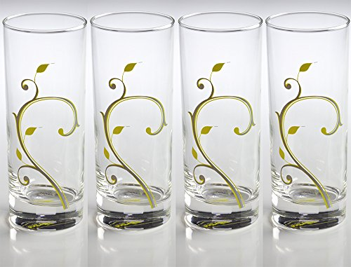 Precise Portions PPG-4 Stylish Portion Control Beverage Glasses with Discrete Markings of 4 oz. Guiding Lines, 10 oz. (Set Includes 4 Glasses)
