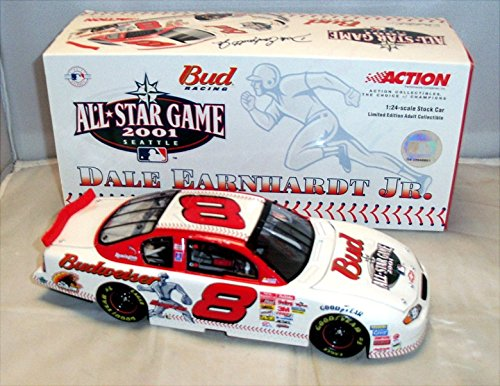 2001 Dale Earnhardt Jr #8 Major League Baseball Budweiser All Star Game (Won Daytona Summer Race in 2001 Same Year Dale Sr died at Daytona) 1/24 Scale Diecast Action Racing Collectables Dale Earnhardt Diecast Collectibles