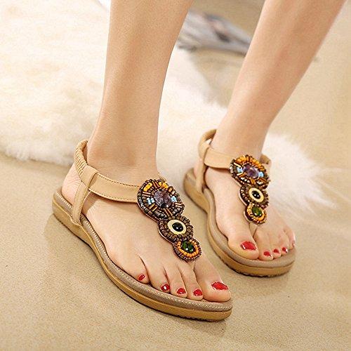 Btrada Mujeres Sandals-summer Bohemian Flat Zapatos-clip Toe Elastic Beach Chanclas Albaricoque