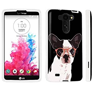DuroCase ? LG G Vista VS880 / D631 Hard Case White - (Bulldog Glasses)