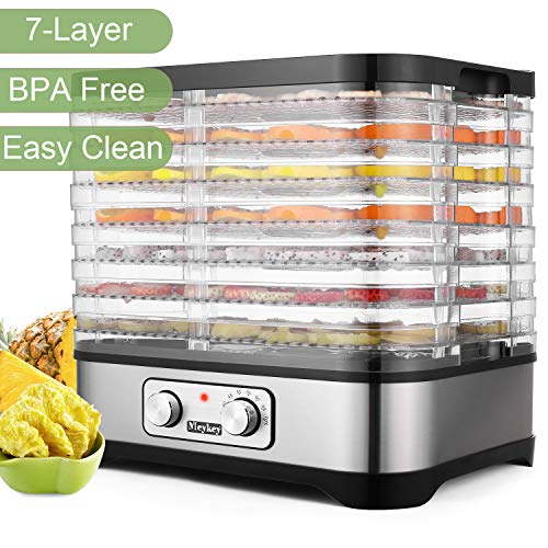 Food Dehydrator Machine - BPA Free Drying System With Nesting Tray - For Beef Jerky Preserving Wild Food and Fruit Vegetable Dryer in Home Kitchen (Button/250W-7Layer)