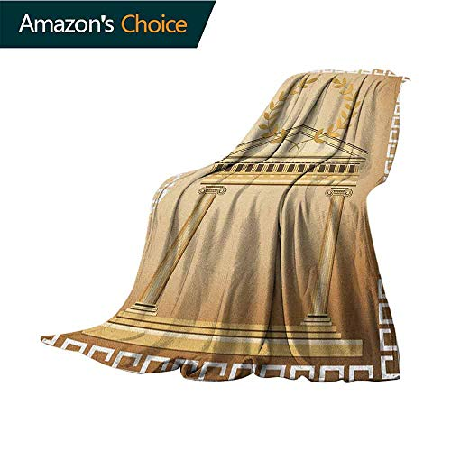 (Toga Party Ultra Soft Flannel Fleece Blanket,Antique Temple with Roman Olive Branch and Greek Architecture Motif Lightweight Microfiber,All Season for Couch or Bed,70