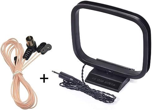 Bingfu Antena de FM 75 Ohm Dipolo Interior Antena con Adaptador F Macho y Antena de Loop Am/MW/LW con Adaptador de 3,5 mm para el Receptor Bose Onkyo ...