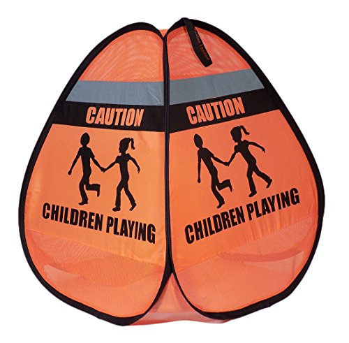 Children Playing Pop Up Orange Safety Cone Sign With Reflective Tape (2 Pack)]()