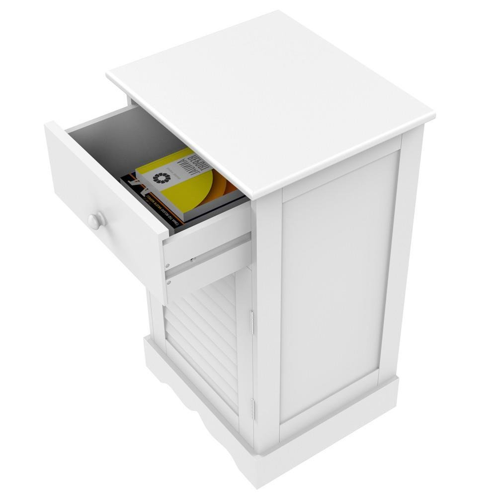 Narrow Bedside Tables Corner Table with Storage Drawer and Shutter Door Cupboard for Bathroom Bedroom Living and Hallway 35 x 30 x 59 cm White Yaheetech Bedside Cabinet