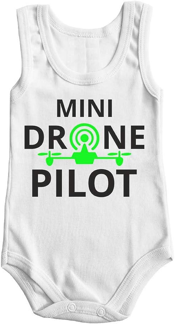 Fashion Graphic Body Neonato Mini Pilota Drone Pilot Drone Fluo Mezza Manica Senza Manica Canotta Cotone Made in Italy