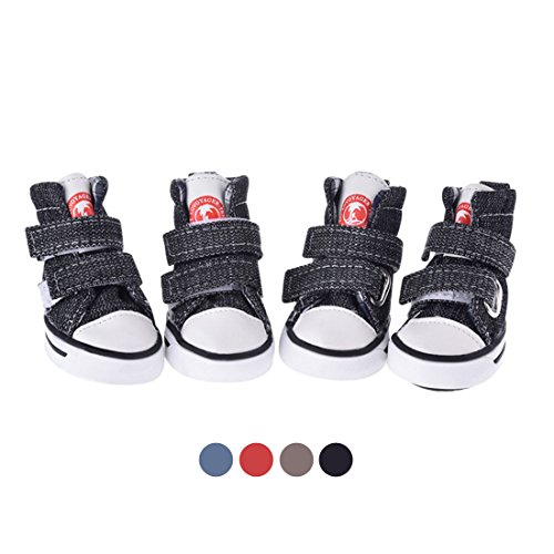 GabeFish Dog Shoes Sneaker Pet Canvas Shoes Chihuahua Puppy Nonslip Boots Sport Anti-Slip Paw Protector Black - Sneakers Dog