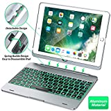 Keyboard Case Compatible with iPad 2018 (6th Gen), iPad 2017 (5th Gen), iPad Pro 9.7,' and iPad Air 1 and 2 - Features Detachable Design, Rotating Hinge and Adjustable Backlight (Gray)