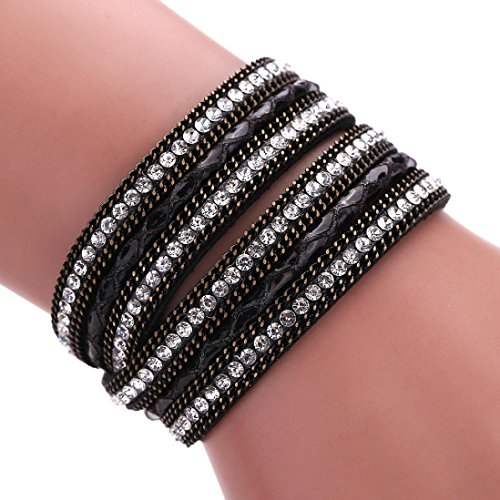 (Ikevan Women Bohemian Bracelet Woven Braided Handmade Wrap Cuff Magnetic Clasp (Black))