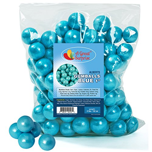 (Gumballs in Bulk - Light Blue Gumballs for Candy Buffet - Shimmer Gumballs 1 Inch - Bulk Candy 2 LB)