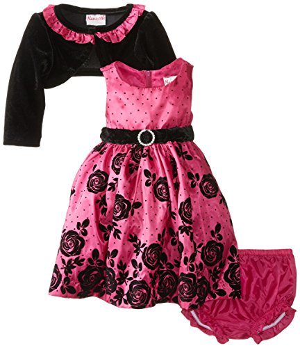 Nannette Baby-Girls Newborn 3 Piece Flocked Border Taffeta Dress and Panty, Pink, 3-6 Months