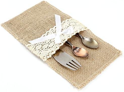 8pcs Porta cubiertos de arpillera con Encaje Bolsa de tela de saco Yute para decorar mesa Boda (Encaje con lazo): Amazon.es: Hogar