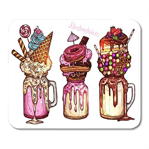 Nakamela Mouse Pads Monster Shake Monstershakes in Color Sketch Style Freak and Crazy Milkshakes Creative Dessert Sweet Cake Mouse mats 9.5