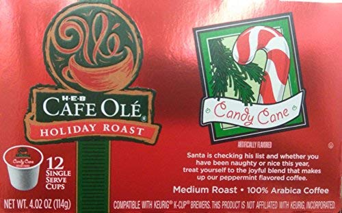 HEB Cafe Ole' Holiday Roast Single Serve Coffee Cups 12 Per Box - Medium Roast (Pack of 4 Boxes - 48 Cups) Select Flavor Below (Candy Cane - Peppermint -
