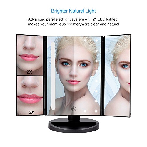 Fascinate Lighted Makeup Mirror 21 LED Lights Touch Screen Dimming, Tri-Fold 3X/2X/1X Magnification 180 Degree Rotation Vanity Mirror (Black) by ASCINATE (Image #1)