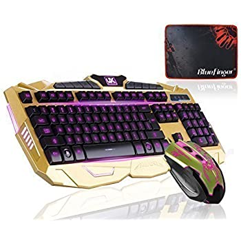 bluefinger gaming wired keyboard and mouse with customed gaming mouse pad computers. Black Bedroom Furniture Sets. Home Design Ideas